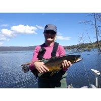 Sues fly fishing Woods Lake.